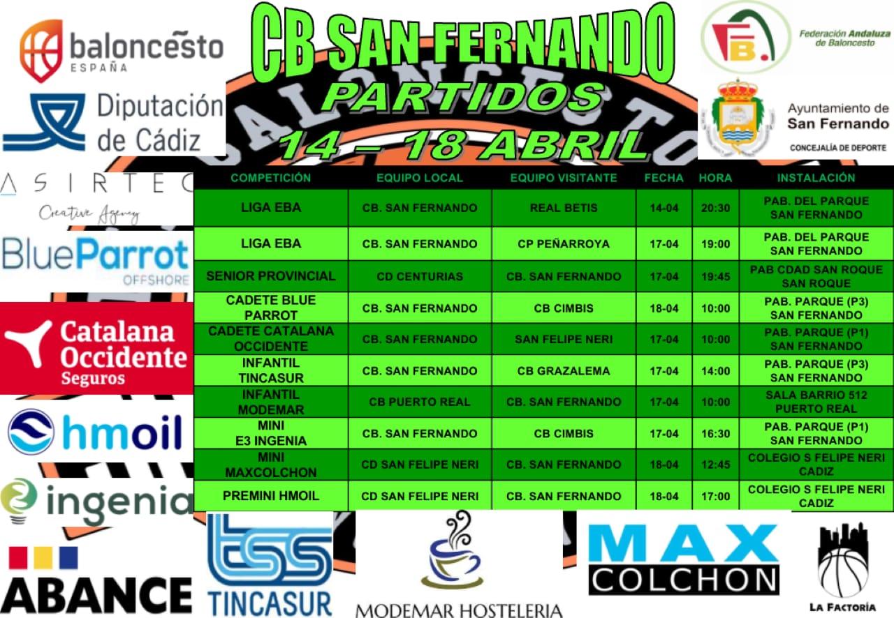 PARTIDOS FIN DE SEMANA 14 -18 DE ABRIL