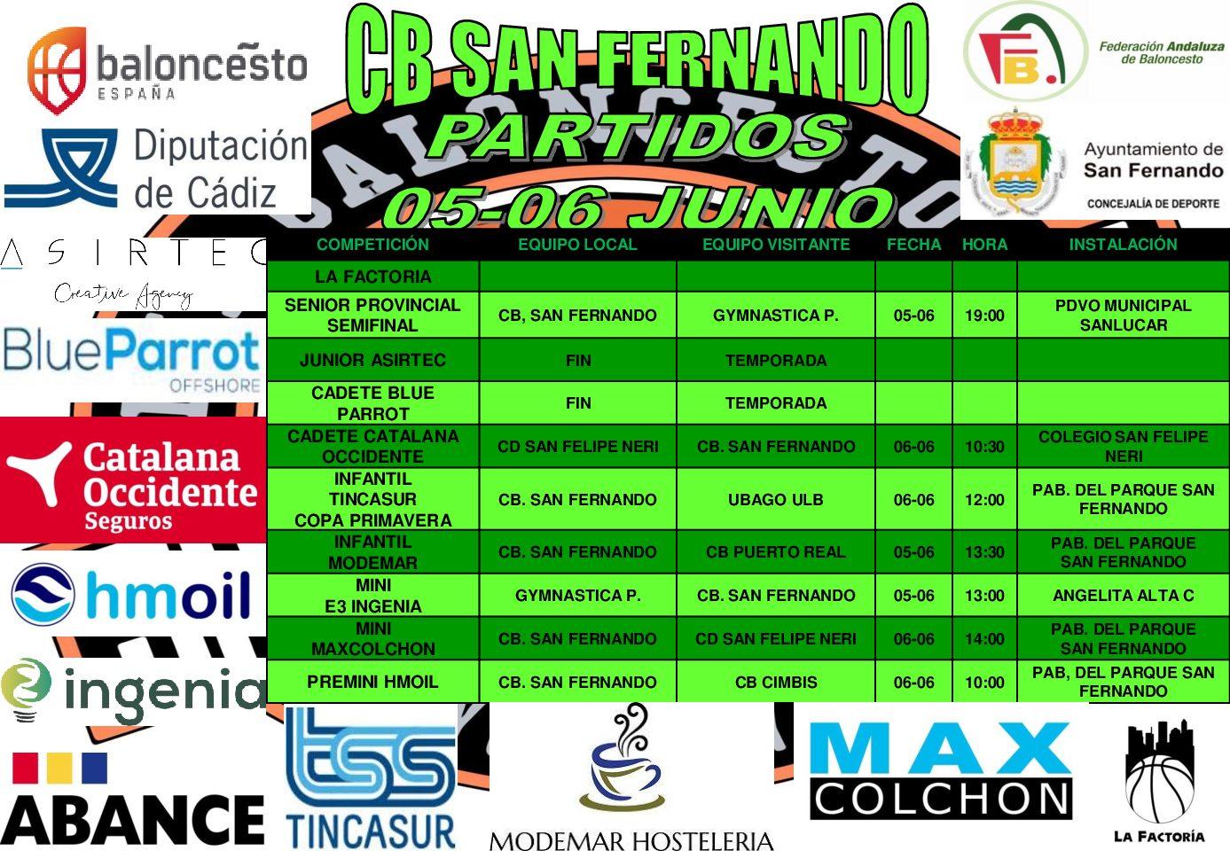PARTIDOS FIN DE SEMANA 5-6 DE JUNIO